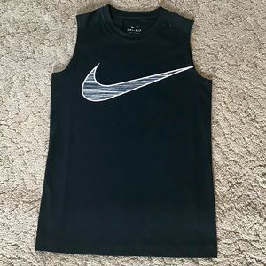 Nike Dri Fit Sleeveless Black Logo Top